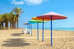 Strand in torremolinos De provincie van Malaga, Costa del Sol, Andalusia stock afbeeldingen