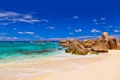 strand tropiska seychelles Arkivbild
