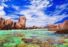 strand tropiska seychelles Arkivfoton