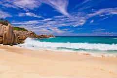 strand tropiska seychelles Royaltyfria Bilder