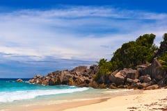 strand tropiska seychelles Fotografering för Bildbyråer