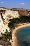 Strand u. weiße Lehmküstefelsen, Italien Stockbild