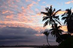 Strand und blauer Himmel mit Palmen durch das Meer auf Sonnenuntergang Stockfoto