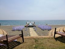 Strand und Heirat stockfotografie