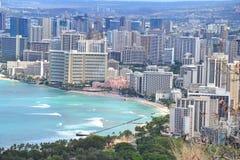 Strand und Hotels Waikiki Lizenzfreies Stockfoto