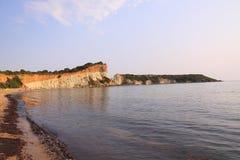 Strand und Klippen Gerakas auf der Insel von Zakynthos Stockbild