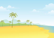 Strand-und Kokosnuss-Baum Lizenzfreies Stockbild