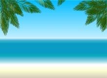 Strand-und Palmen Musikvektor mit Mann stock abbildung