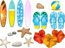 Strand und tropische Elemente Stockbilder
