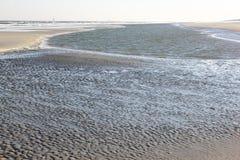 Strand van Ameland-Eiland langs Noordzeekust, Holland Stock Foto