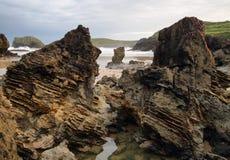 Strand van Barro dichtbij Llanes dorp Royalty-vrije Stock Foto's