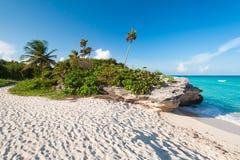 Strand van de Caraïbische Zee in Mexico Stock Foto