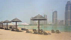 Strand van Grand Hyatt -Hotel in Doha Qatar de Parel royalty-vrije stock afbeeldingen