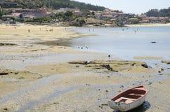 Strand van het dorp van Aldan Stock Afbeelding