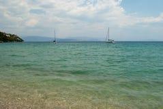 Strand van het Eiland Korfu Stock Foto's