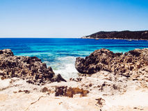 Strand van zoutmeren, Ibiza, Spanje Stock Foto