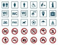 Strand - Verbod & Waarschuwingsborden - Iconset stock illustratie