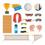 Strand-Volleyball-Ikonen eingestellter Vektor Volleyball-Zubehör Schale, Karten, Ball, Gläser, Tuch, Feld, Wasser, Gesten vektor abbildung