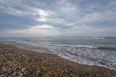 Strand von Huanchaco, Caballito de Totora Stockfoto
