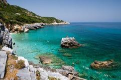Strand von Mylopotamos (horizontal Stockfotografie