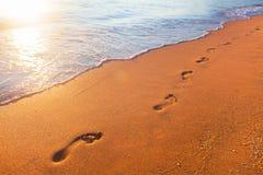 Strand, Welle und Abdrücke stockbilder