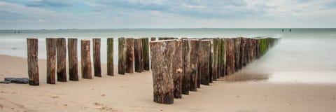 Strand Zeeland, longexposure Arkivfoton