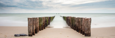 Strand, Zeeland, longexposure en mysticus Royalty-vrije Stock Fotografie