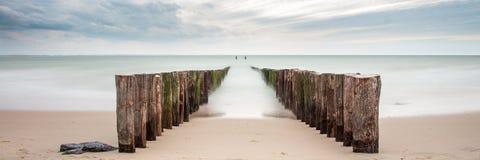 Strand, Zeeland, longexposure och mystiker Royaltyfri Fotografi
