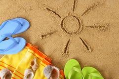 Strandachtergrond met zon Royalty-vrije Stock Foto's