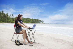 strandaffärskvinnaworking royaltyfri bild