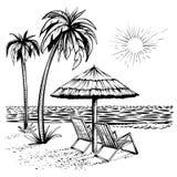 Strandansicht mit Palme, Ruhesessel und Sonnenschirm, Vektorskizzenillustration stockfoto