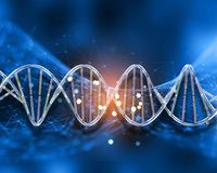 strandar medicinsk bakgrund 3D med DNA på låg poly design royaltyfri illustrationer
