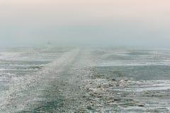 Strandat skepp för havsis Arkivfoto