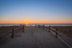 Strandbana på soluppgång arkivbilder