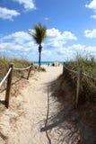 strandbana som är sandig till Arkivfoton