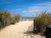 Strandbana till och med sand som ska bevattnas Arkivfoto