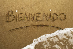 strandbienvenido Arkivfoto