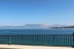 Strandboulevard, Korfu, Griekenland Royalty-vrije Stock Foto's