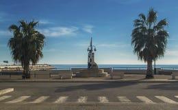 Strandboulevard Manfredonia - een stad van Gargano Stock Afbeeldingen