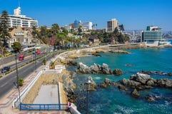 Strandboulevard in Vina del Mar, Chili stock afbeeldingen