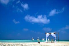 Strandbröllop på den Maafushi strandlagun, Arkivfoton