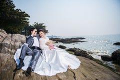 Strandbröllopceremoni Royaltyfri Bild