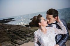 Strandbröllopceremoni Arkivfoto
