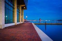 Strandbyggnad på skymning i avverkningpunkt, Baltimore, Maryl Arkivfoto
