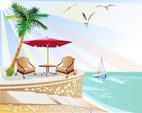strandcafe Vektor Illustrationer