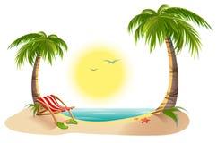 Strandchaise-longue onder palm De zomervakantie in keerkringen Royalty-vrije Stock Afbeelding