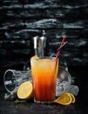 strandcoctailen k?nsbest?mmer Orange fruktsaft, vodka, granatäppelsaft P? en tr?bakgrund fotografering för bildbyråer