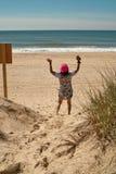 Stranddag på Montauk, Long Island New York, USA arkivbilder