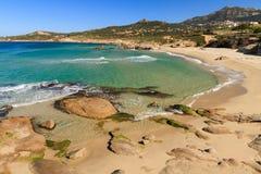 Strandde Petra Muna, nahe Calvi in Korsika Stockbild