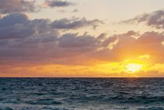 stranddeerfieldsoluppgång Arkivfoto
